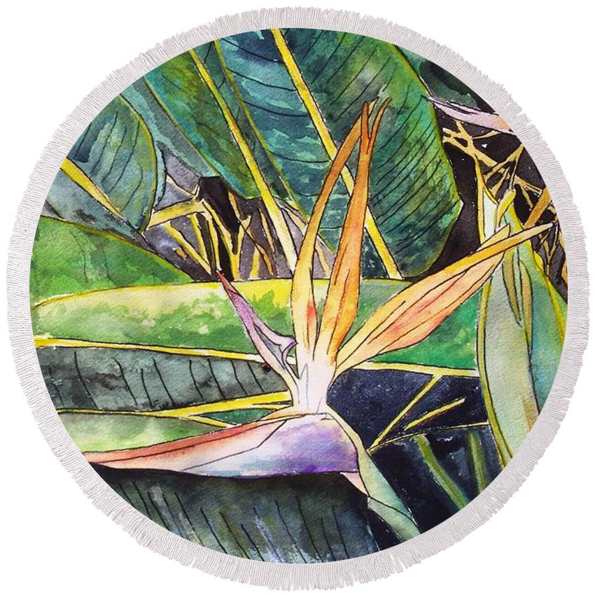 Watercolor Round Beach Towel featuring the painting Bird Of Paradise by Derek Mccrea