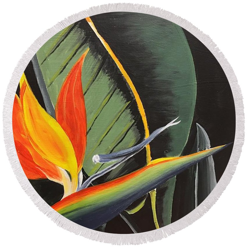 Flower Round Beach Towel featuring the painting Bird Of Paradise by Peggy Derrico