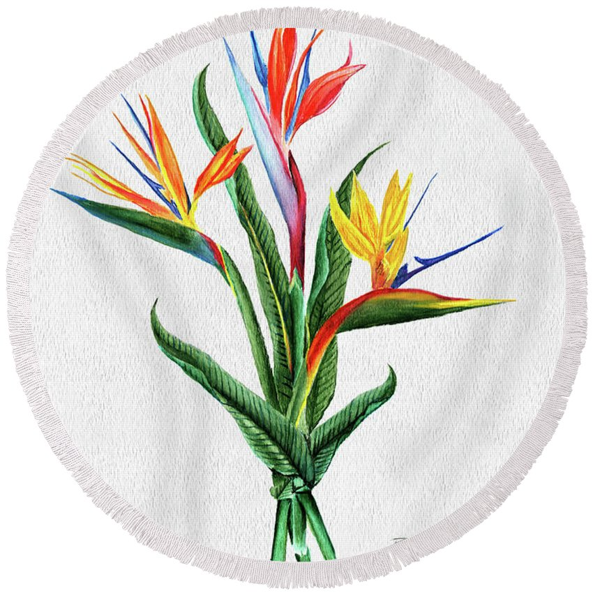 Bird Of Paradise Round Beach Towel featuring the painting Bird Of Paradise by Peter Piatt