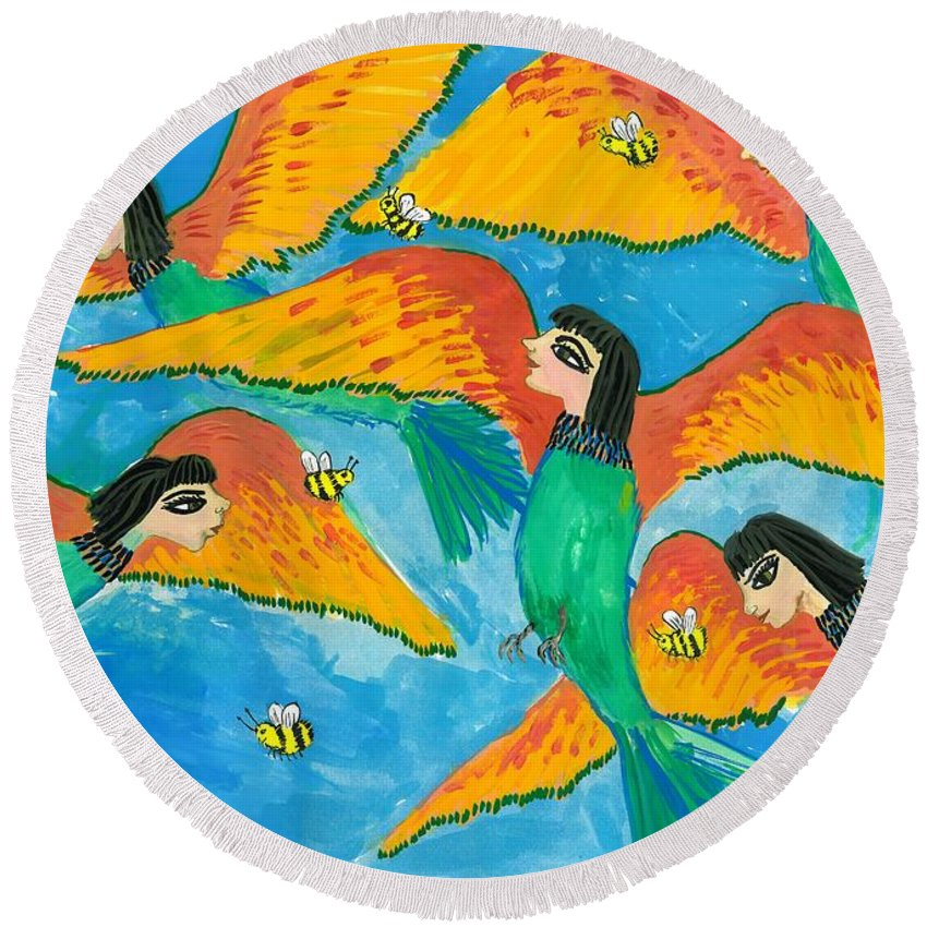 Sue Burgess Round Beach Towel featuring the painting Bird People Little Green Bee Eaters Of Upper Egypt by Sushila Burgess