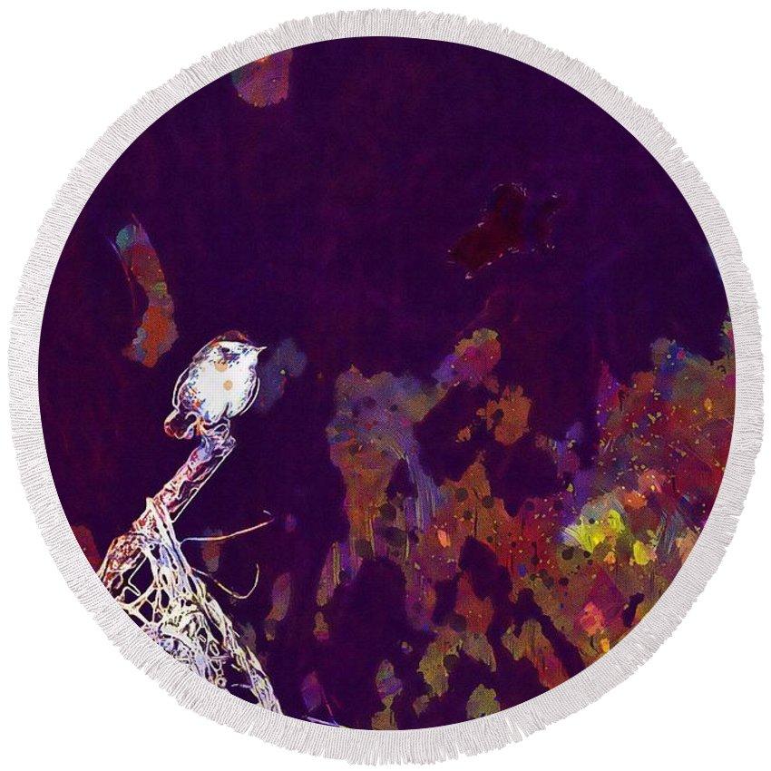 Bird Round Beach Towel featuring the digital art Bird Small Garden Little Bird by PixBreak Art