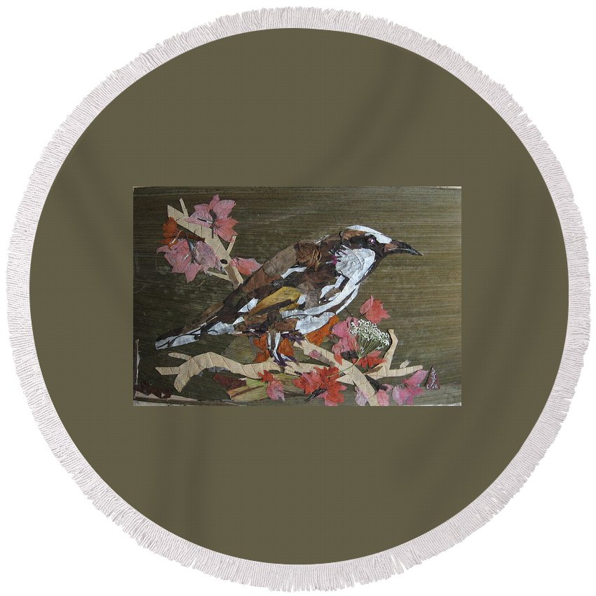 Bird Round Beach Towel featuring the mixed media Bird White Eye by Basant Soni