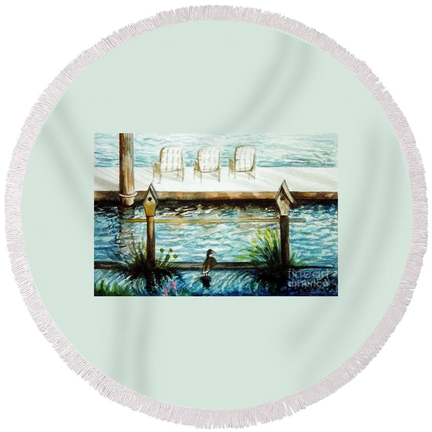 Birdhouse Round Beach Towel featuring the painting Birdhouse Haven by Elizabeth Robinette Tyndall