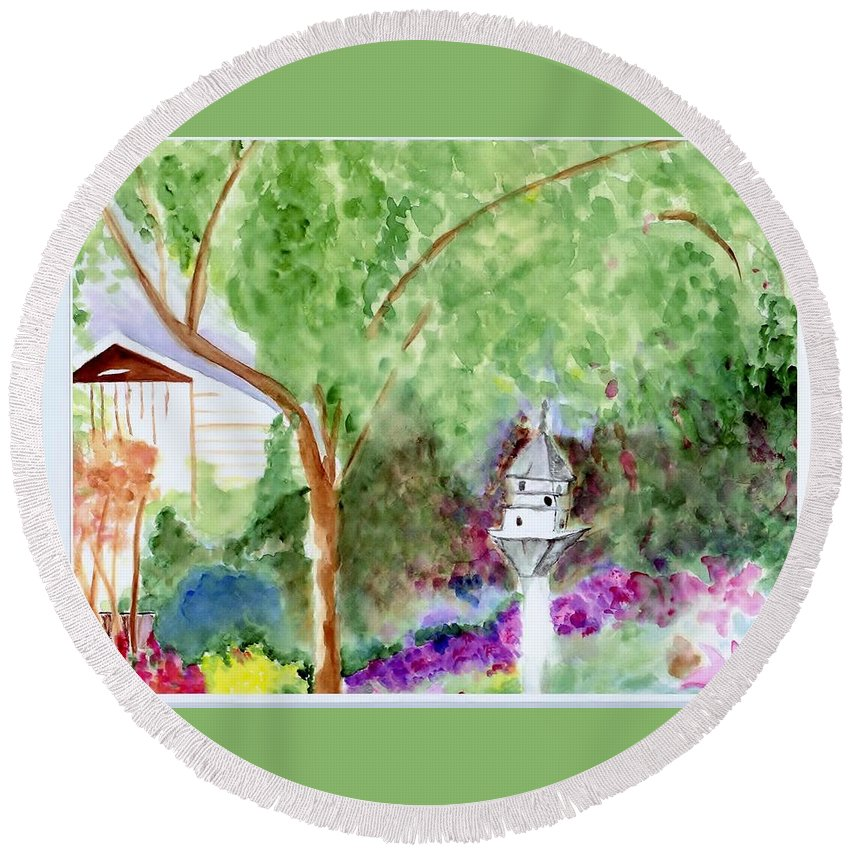 Birdhouse Round Beach Towel featuring the painting Birdhouse by Jamie Frier
