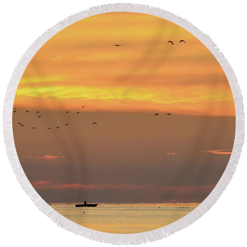 Abstract Round Beach Towel featuring the photograph Birds And Canoe At Lake Simcoe 2 by Lyle Crump