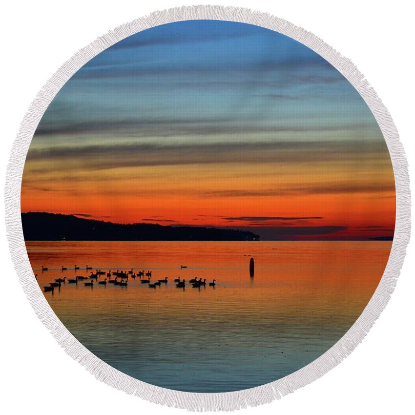 Abstract Round Beach Towel featuring the photograph Birds At Dawn By The Buoy by Lyle Crump