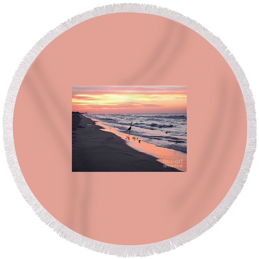 Great Blue Heron Round Beach Towel featuring the photograph Birds At Water's Edge by Beth Williams