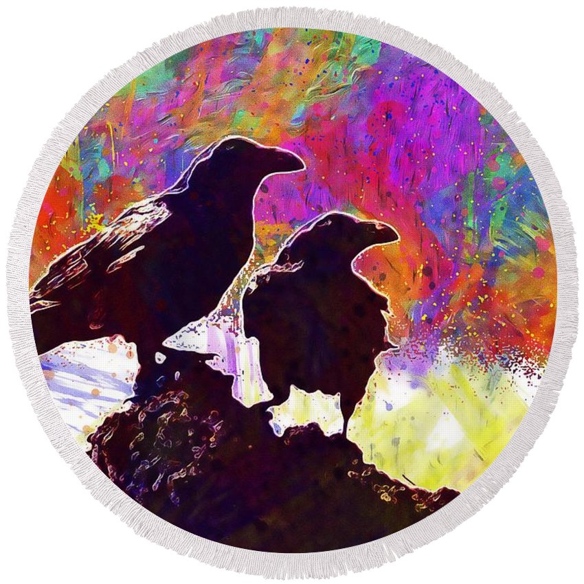 Birds Round Beach Towel featuring the digital art Birds Crow Black by PixBreak Art