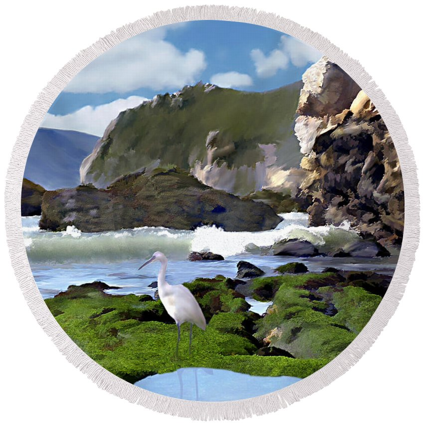 Ocean Round Beach Towel featuring the photograph Bird's Eye View by Kurt Van Wagner