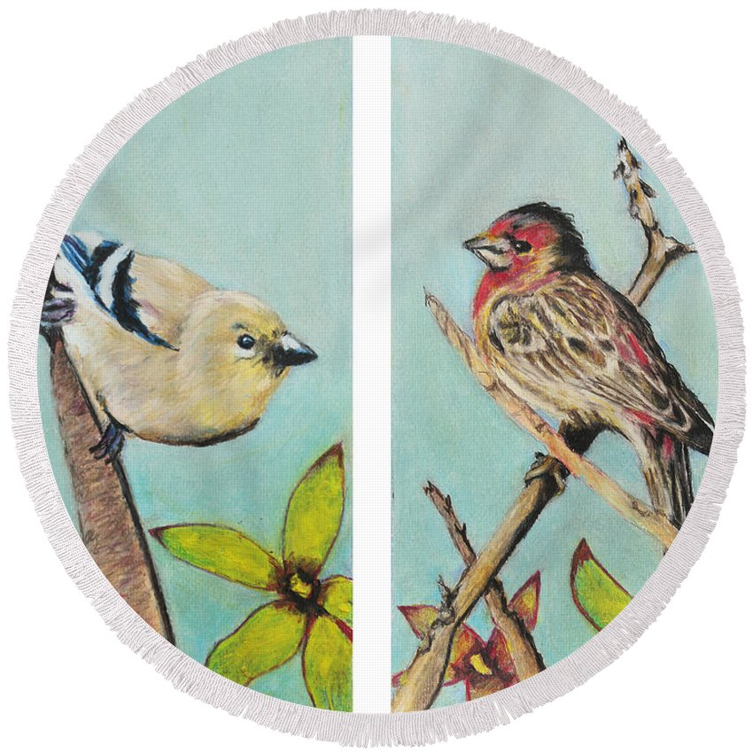 Wild Round Beach Towel featuring the painting Birds by Jeanne Fischer