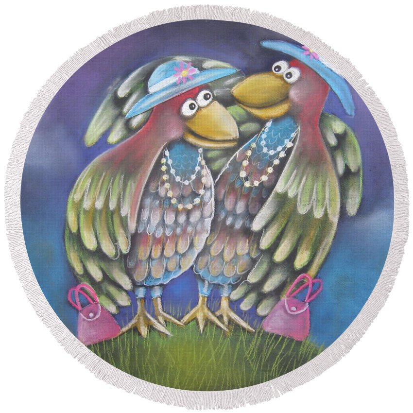 Caroline Peacock Round Beach Towel featuring the pastel Birds Of A Feather Stick Together by Caroline Peacock