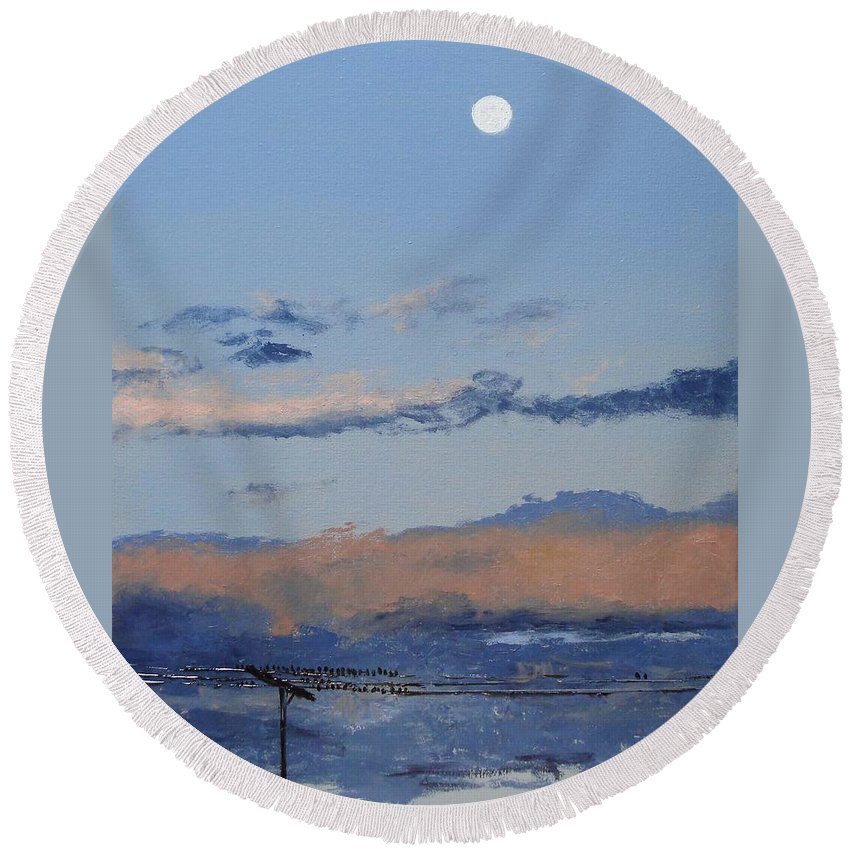 Landscape Round Beach Towel featuring the painting Birds On A Wire by Barbara Andolsek