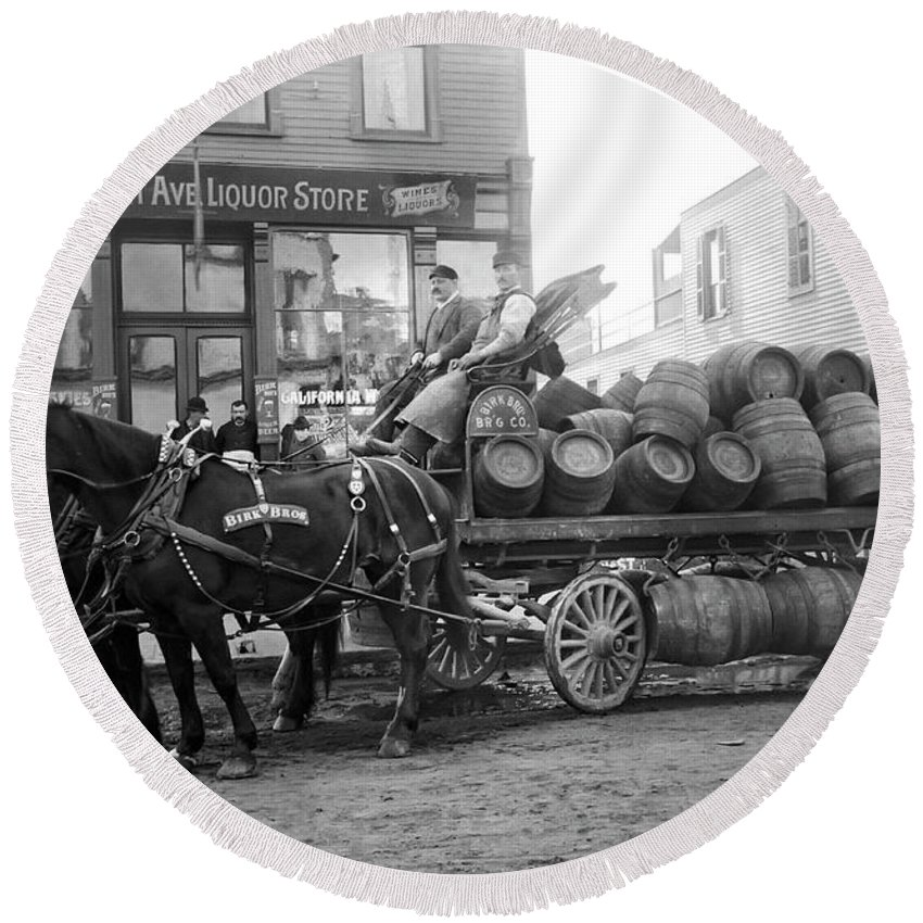 Chicago Round Beach Towel featuring the photograph Birk Brothers Brewing Company C. 1895 by Daniel Hagerman