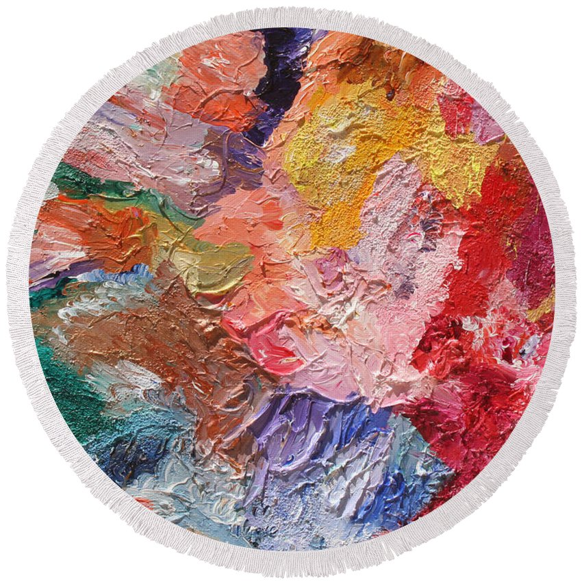 Fusionart Round Beach Towel featuring the painting Birth Of Passion by Ralph White