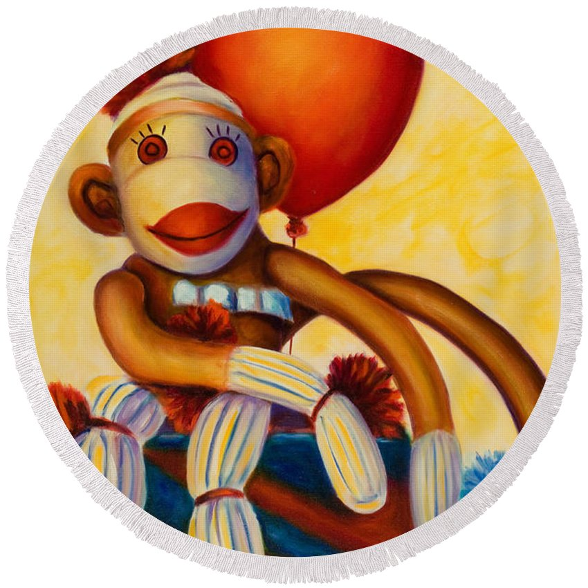 Sock Monkey Brown Round Beach Towel featuring the painting Birthday Made Of Sockies by Shannon Grissom
