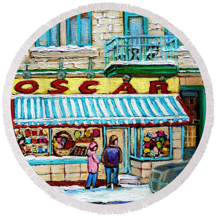Biscuiterie Oscar Round Beach Towel featuring the painting Biscuiterie Oscar Rue Ontario by Carole Spandau