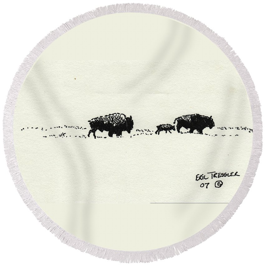 Buffalo Round Beach Towel featuring the photograph Bison Family by Eric Tressler