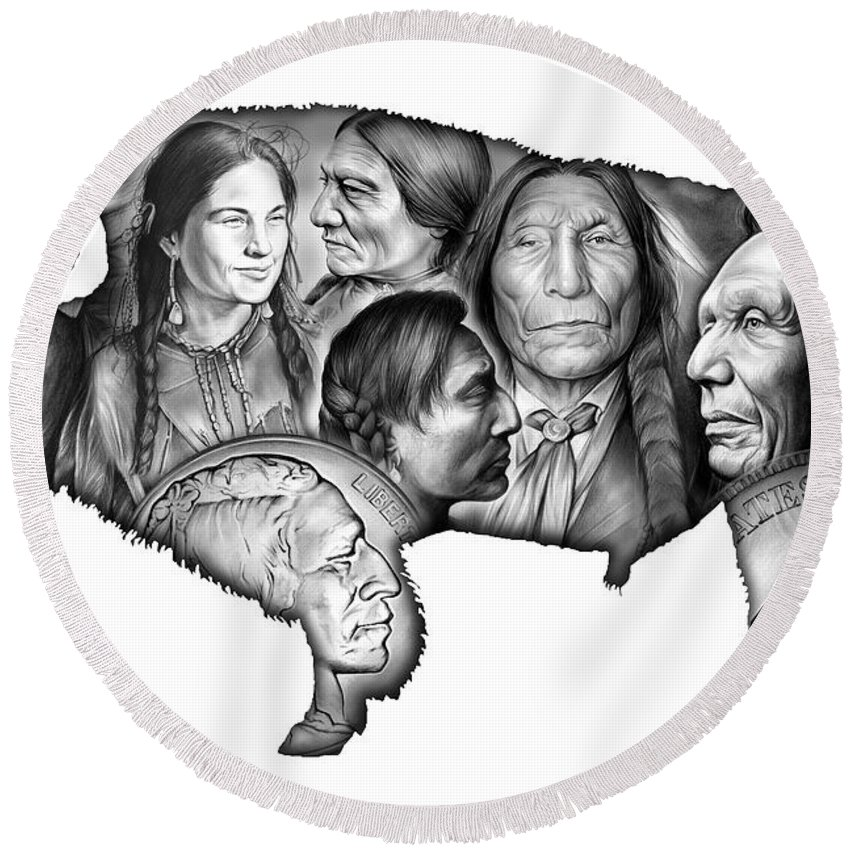 American Indian Round Beach Towel featuring the digital art Bison Indian Montage by Greg Joens