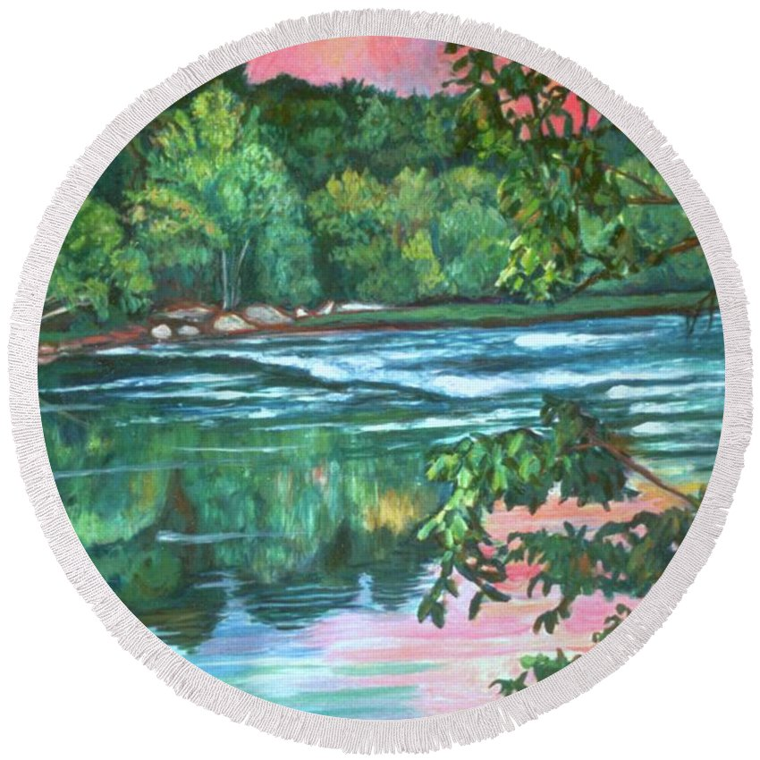 River Round Beach Towel featuring the painting Bisset Park Rapids by Kendall Kessler
