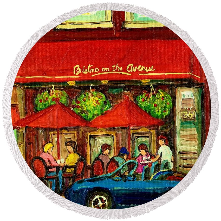Bistro On Greene Avenue Round Beach Towel featuring the painting Bistro On Greene Avenue In Montreal by Carole Spandau