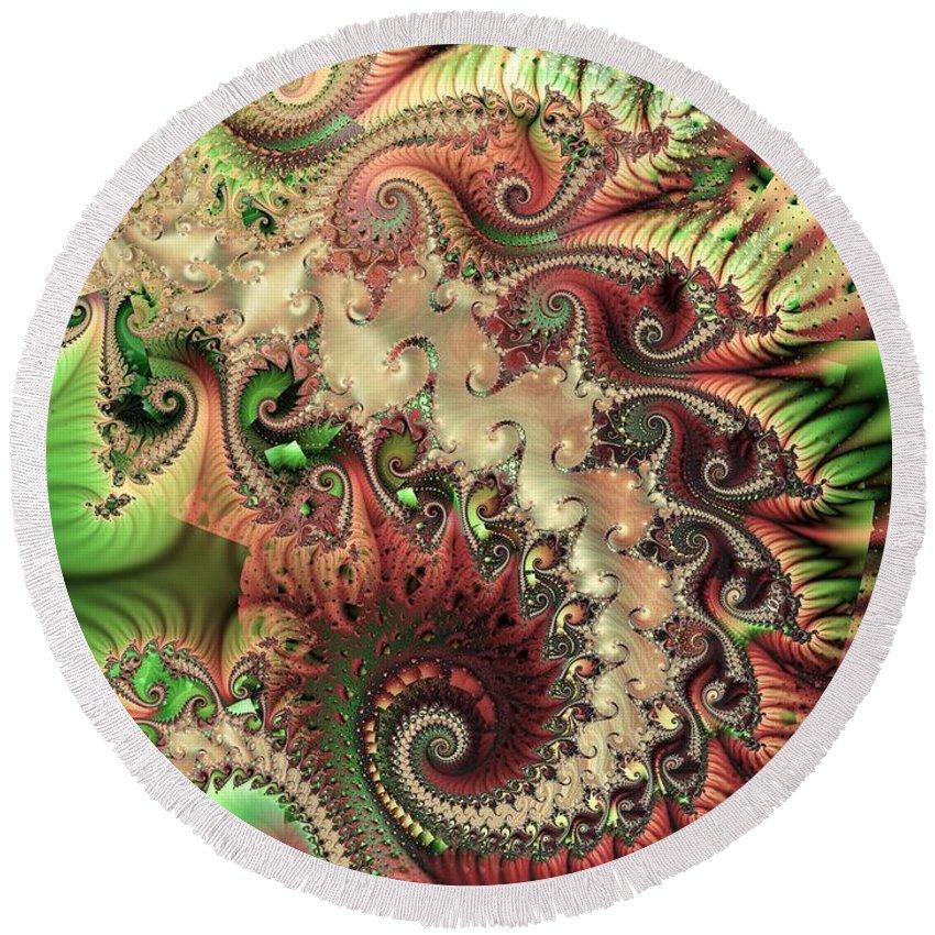 Spiral Round Beach Towel featuring the digital art Bisymmetric Spiral Spring by Ron Bissett