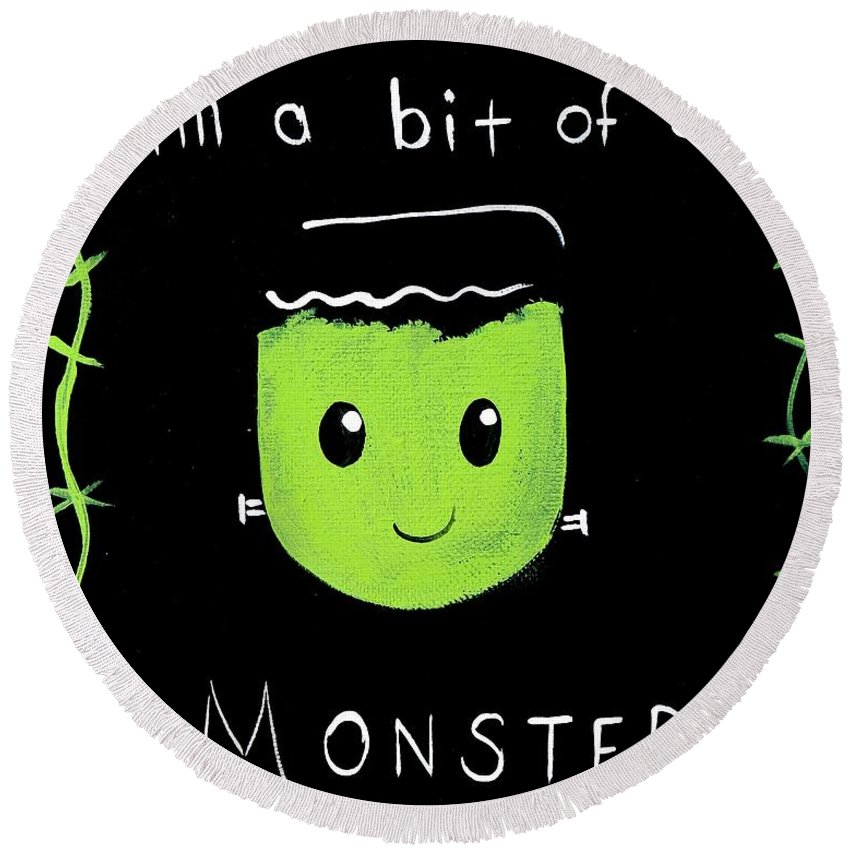 Creepy Round Beach Towel featuring the painting Bit Of A Monster by Marisela Mungia