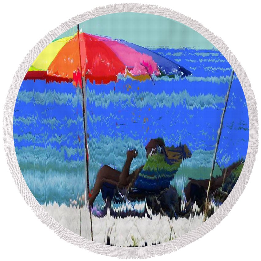 Venice Round Beach Towel featuring the photograph Bit Of Shade On The Beach by Ian MacDonald