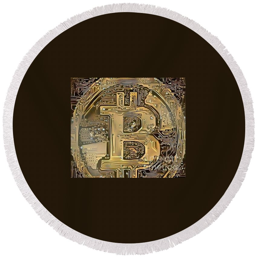 Cryptocurrency Round Beach Towel featuring the digital art Bitcoin by Crypto Currency