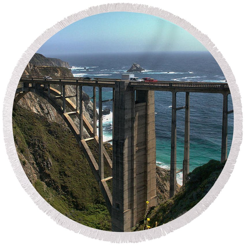 Bixby Bridge Round Beach Towel featuring the photograph Bixby Creek Bridge 5 by Michael Gordon
