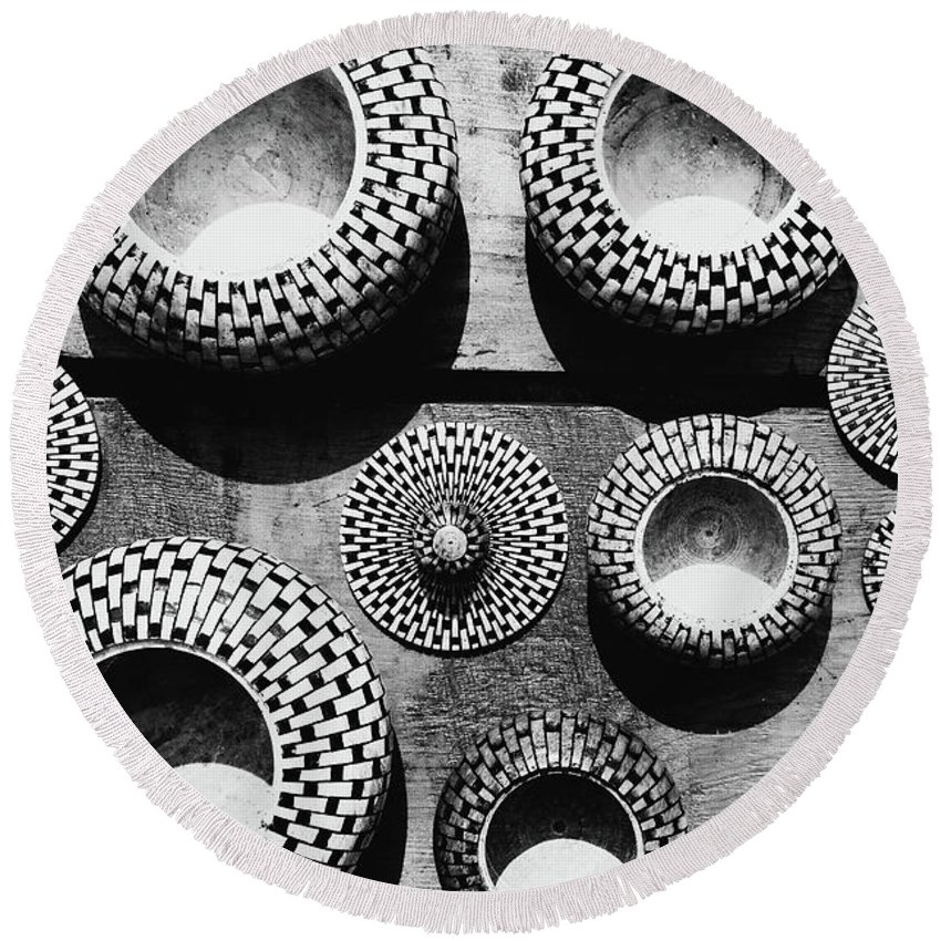 Abstract Round Beach Towel featuring the photograph Black And White Abstract Pattern Beautiful Traditional Bowls by Srdjan Kirtic