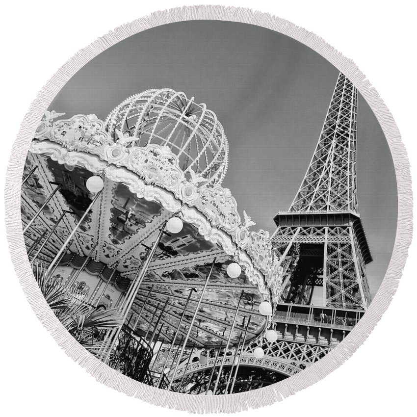 Paris Round Beach Towel featuring the photograph Black And White Carousel by Delphimages Photo Creations