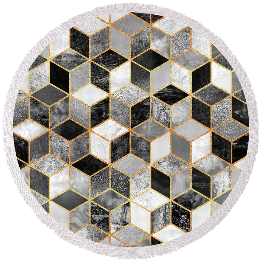 Graphic Design Round Beach Towel featuring the digital art Black and White Cubes by Elisabeth Fredriksson