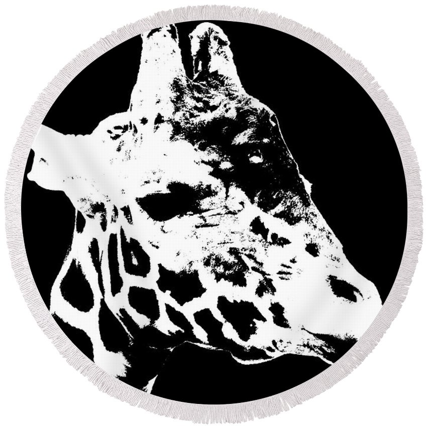 Black And White Round Beach Towel featuring the photograph Black And White Giraffe by Sergey Lukashin