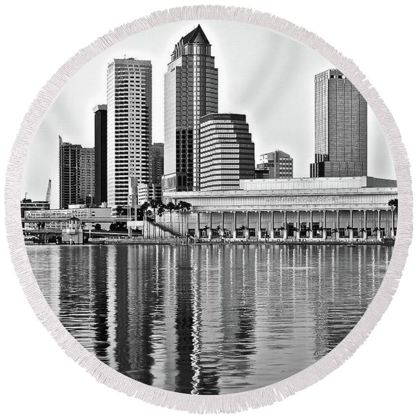 Tampa Round Beach Towel featuring the photograph Black And White In The Heart Of Tampa Bay by Frozen in Time Fine Art Photography