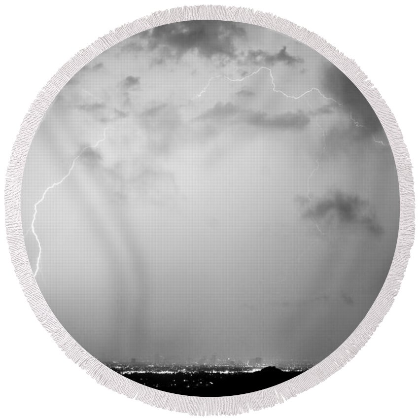 Lightning Round Beach Towel featuring the photograph Black And White Lightning Dome Over City Lights by James BO Insogna
