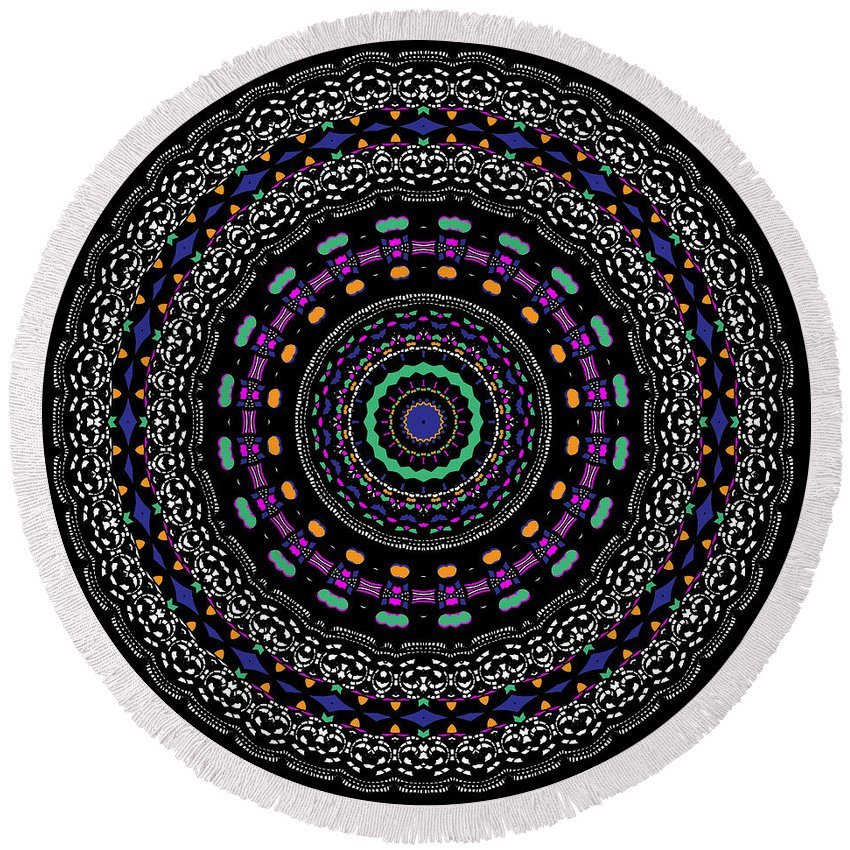Digital Round Beach Towel featuring the digital art Black And White Mandala No. 4 In Color by Joy McKenzie