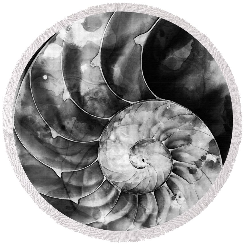 Nautilus Round Beach Towel featuring the painting Black And White Nautilus Shell By Sharon Cummings by Sharon Cummings