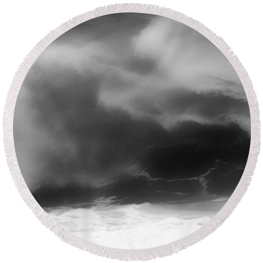 Black And White Round Beach Towel featuring the photograph Black And White Ocean Blur by Adam Jewell