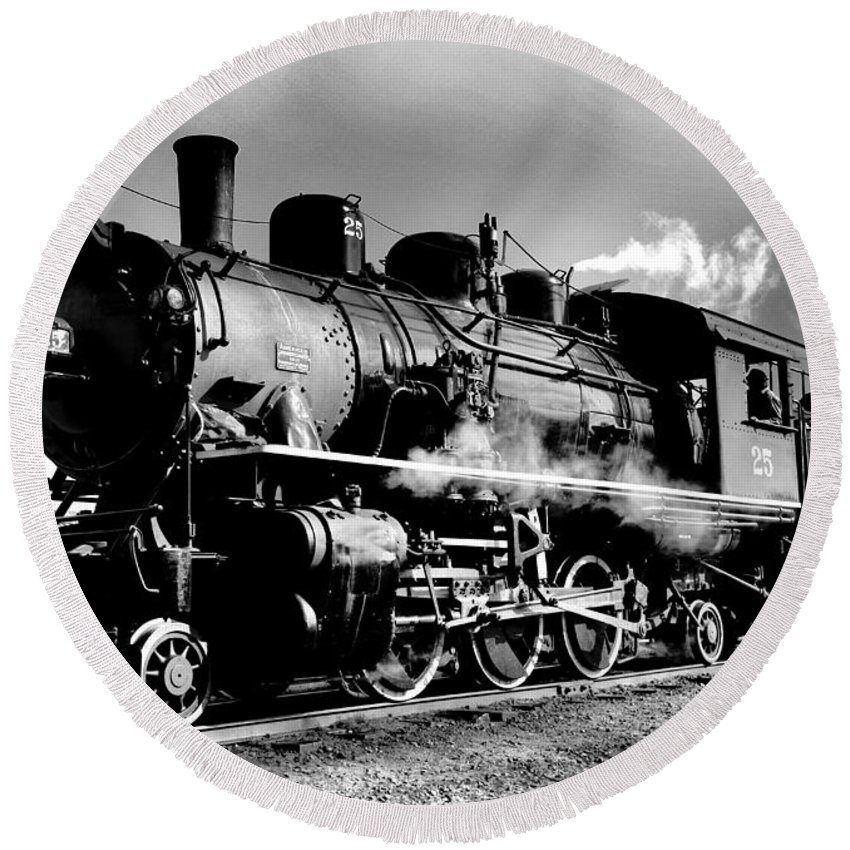Steam Engine Round Beach Towel featuring the photograph Black And White Of An Old Steam Engine by Jeff Swan