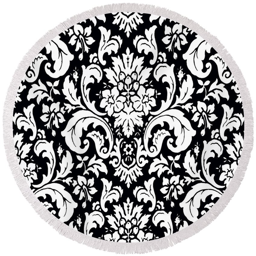 Black And White Paisley Pattern Round Beach Towel featuring the painting Black And White Paisley Pattern Vintage by Saundra Myles