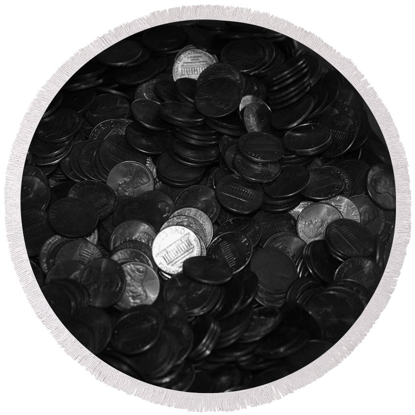 Abstract Round Beach Towel featuring the photograph Black And White Pennies by Rob Hans