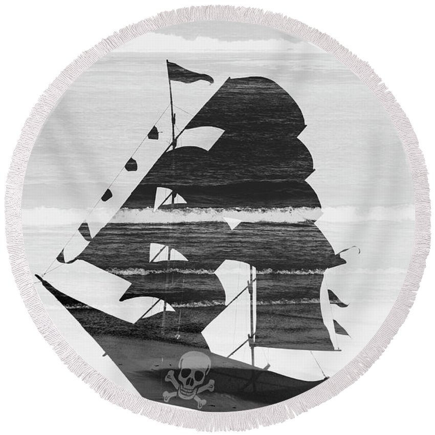 Abstract Round Beach Towel featuring the photograph Black And White Pirate Ship Against The Sea And Crushing Waves. Double Exposure by Srdjan Kirtic