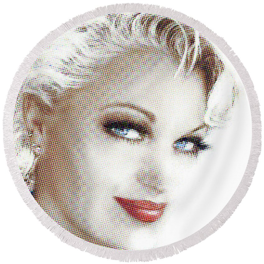 Face Round Beach Towel featuring the painting Black And White Red Lips by Angie Braun