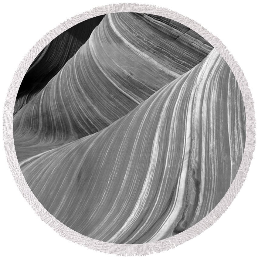 Sandstone Waves Round Beach Towel featuring the photograph Black And White Sandstone Waves by Adam Jewell