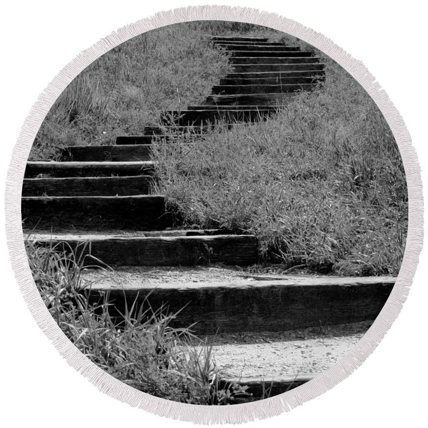 Nature Round Beach Towel featuring the photograph Black And White Steps by Kyle West