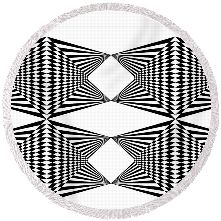 Black T-shirt Round Beach Towel featuring the digital art Black And White T-shirt by Isam Awad