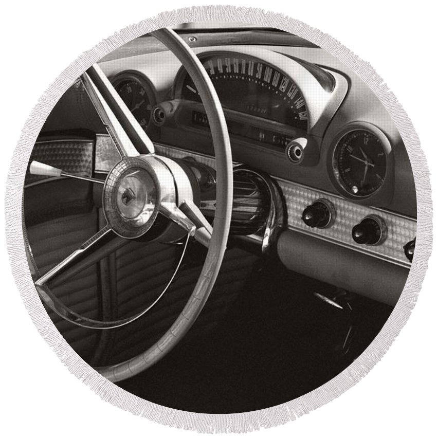Black Round Beach Towel featuring the photograph Black And White Thunderbird Steering Wheel And Dash by Heather Kirk