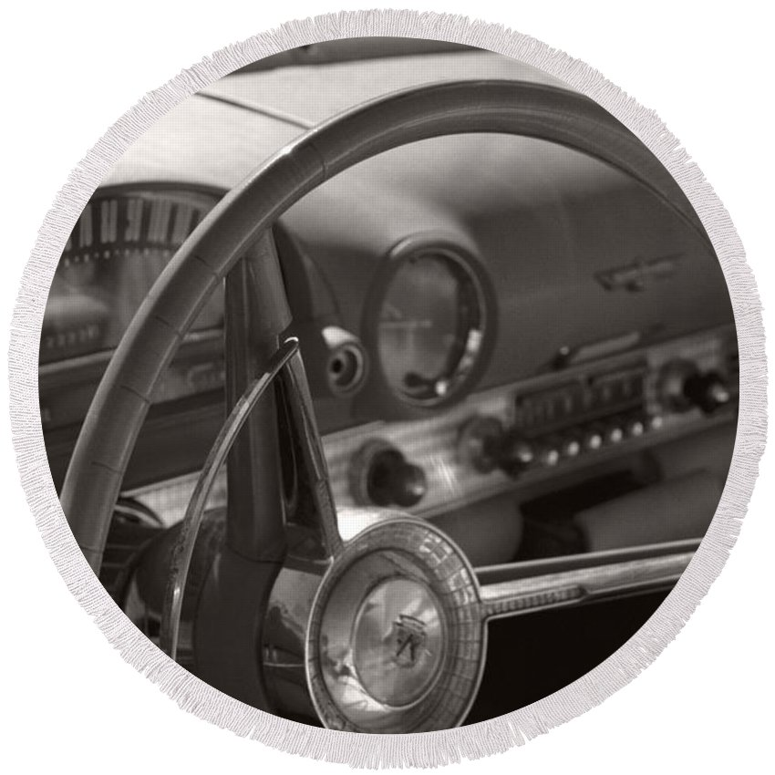 Black And White Photography Round Beach Towel featuring the photograph Black And White Thunderbird Steering Wheel by Heather Kirk