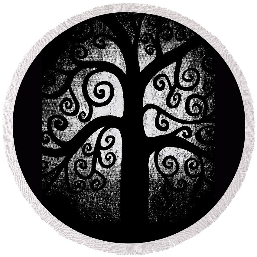Black And White Round Beach Towel featuring the painting Black And White Tree by Angelina Vick
