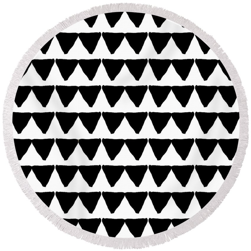 Triangles Round Beach Towel featuring the mixed media Black and White Triangles- Art by Linda Woods by Linda Woods